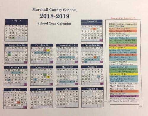 Marshall County School Calendar For 2018 2019 Chapelhilltn Com